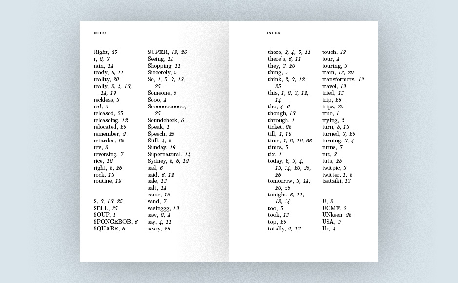 The book opens with an index of <br>#hashtags, @mentions, and common words.